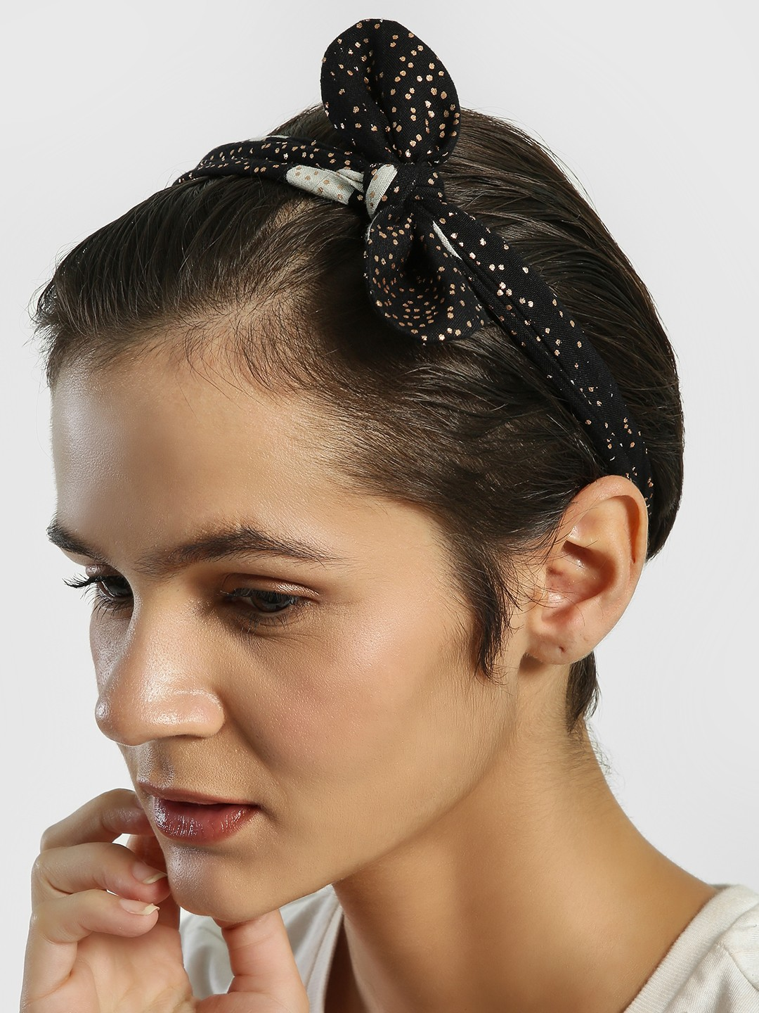 Blueberry Black Metallic Polka Dot Bow Headband 1