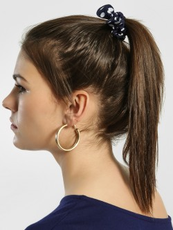 Blueberry Printed Bow Detail Scrunchie (Pack Of 4)