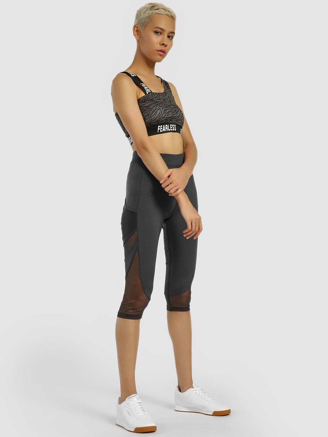 K ACTIVE Grey KOOVS Side Mesh Panel Cropped Leggings 1