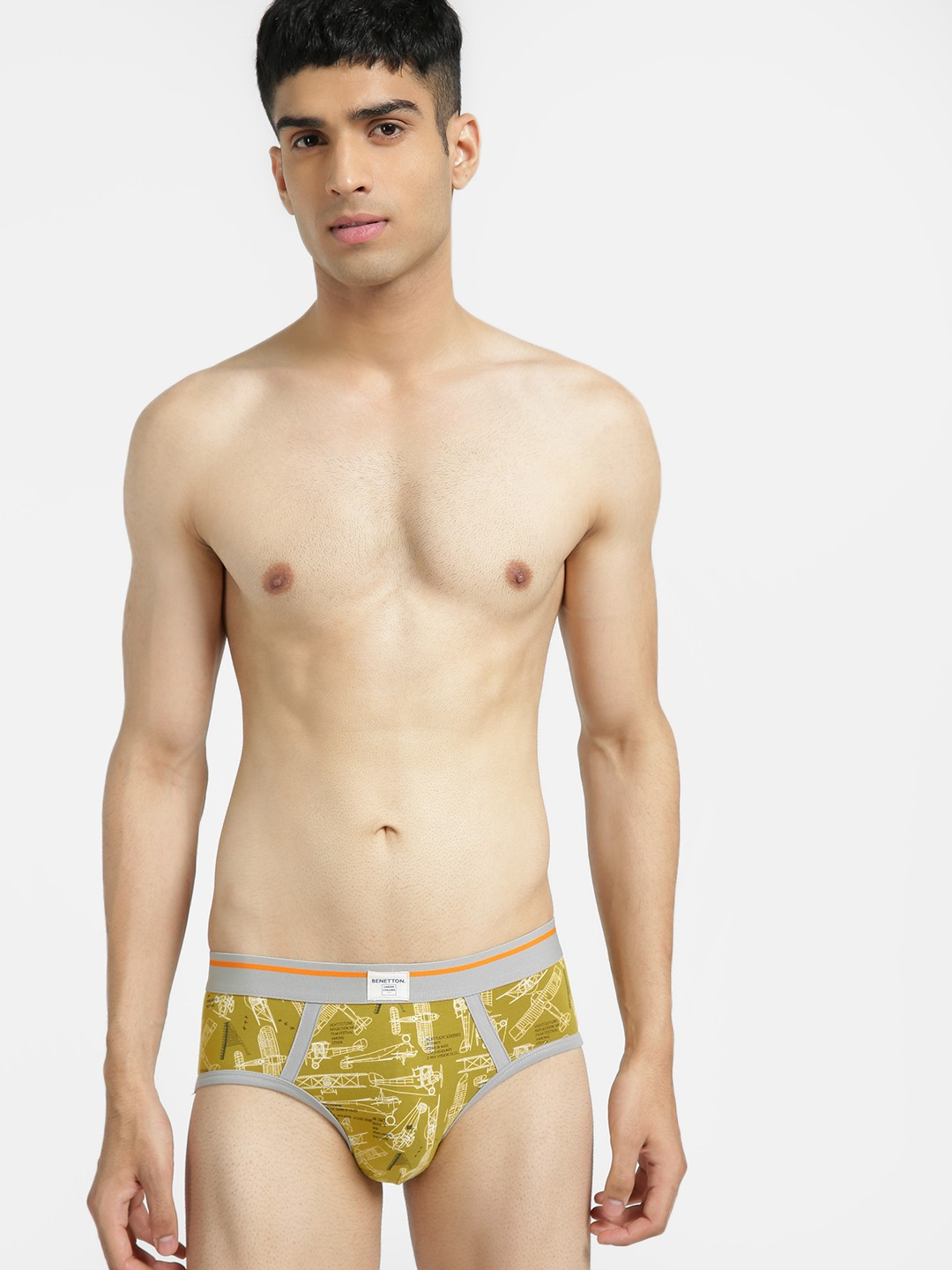 Under Colors of Benetton Olive Aircraft Print Logo Briefs 1
