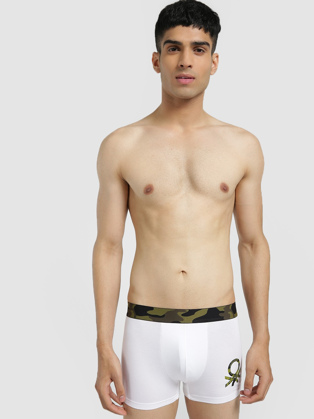 Under Colors of Benetton White Camo Waistband Logo Trunks 1