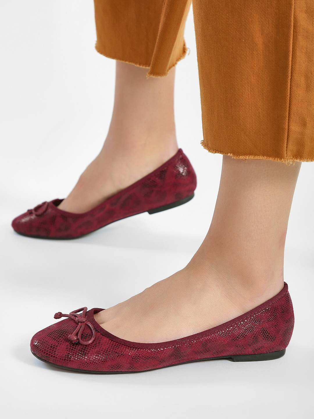Truffle Collection Red Snakeskin Bow Detail Ballerinas 1