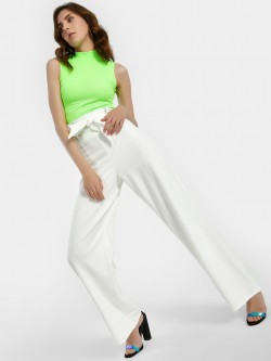 Quiz High Waist Tie Belt Flared Trousers