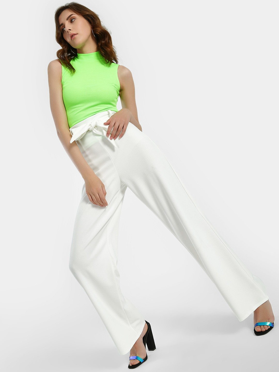 Quiz Off-White High Waist Tie Belt Flared Trousers 1