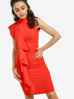 Quiz Ruffle Detail Bodycon Dress