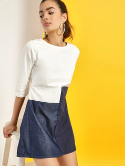Freakins Colour Block Denim Dress