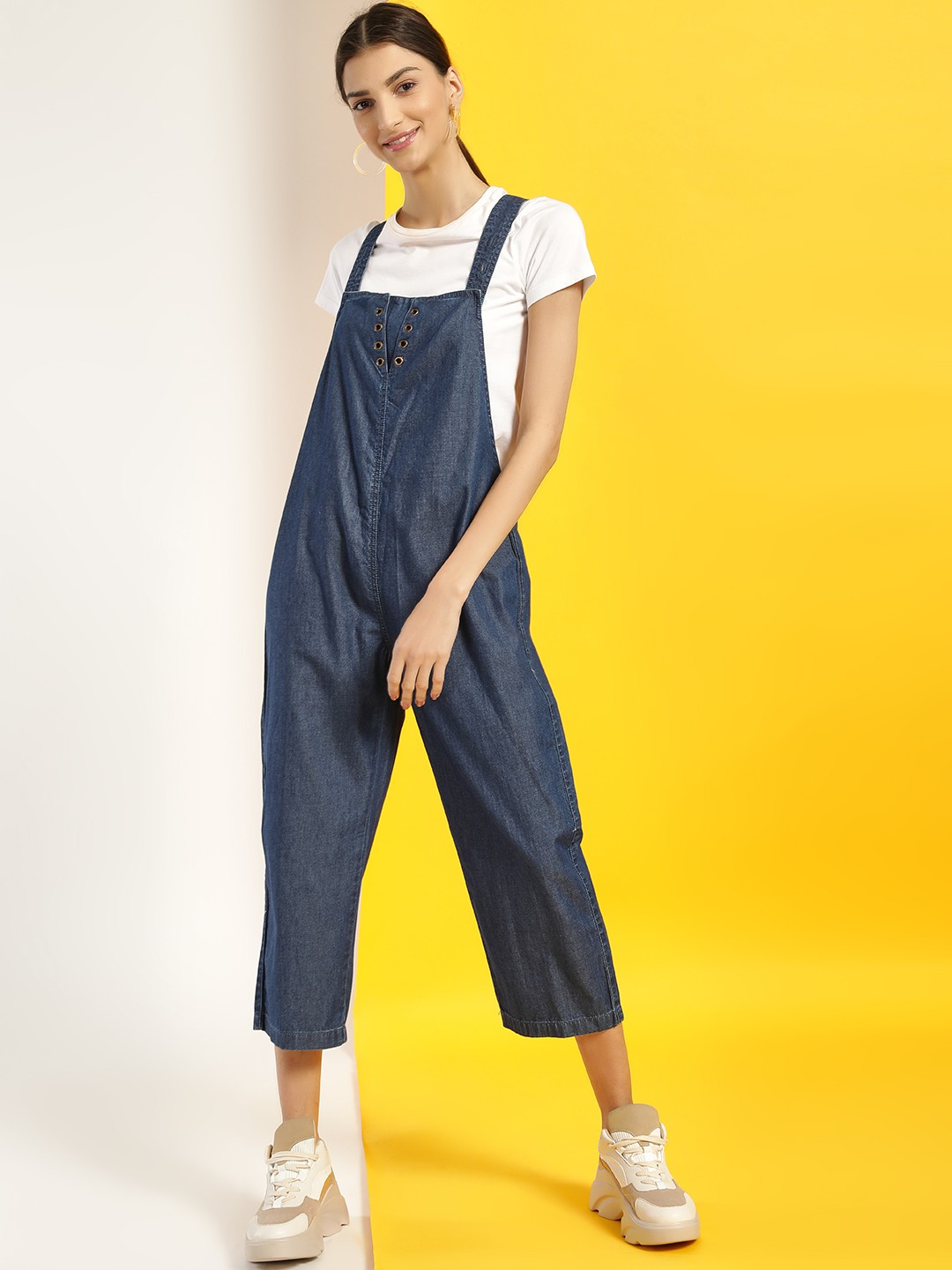 Freakins Blue Eyelet Detail Cropped Denim Jumpsuit 1
