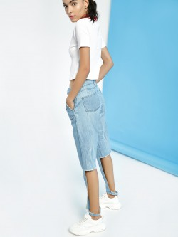 Freakins Light Wash Distressed Cut-Out Leg Jeans