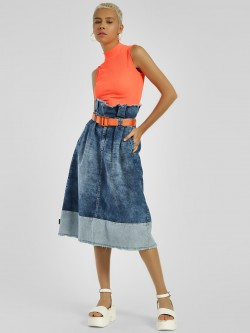 Freakins Colour Block Paperbag Waist Midi Skirt