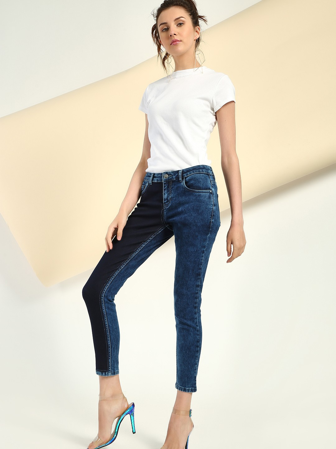 Freakins Blue Colour Block Cropped Skinny Jeans 1