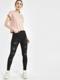 Freakins High-Waist Ripped Skinny Jeans