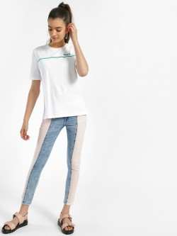 Freakins Colour Block Cropped Skinny Jeans