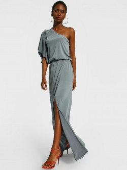 The Paperdoll Company One Shoulder Front Slit Maxi Dress