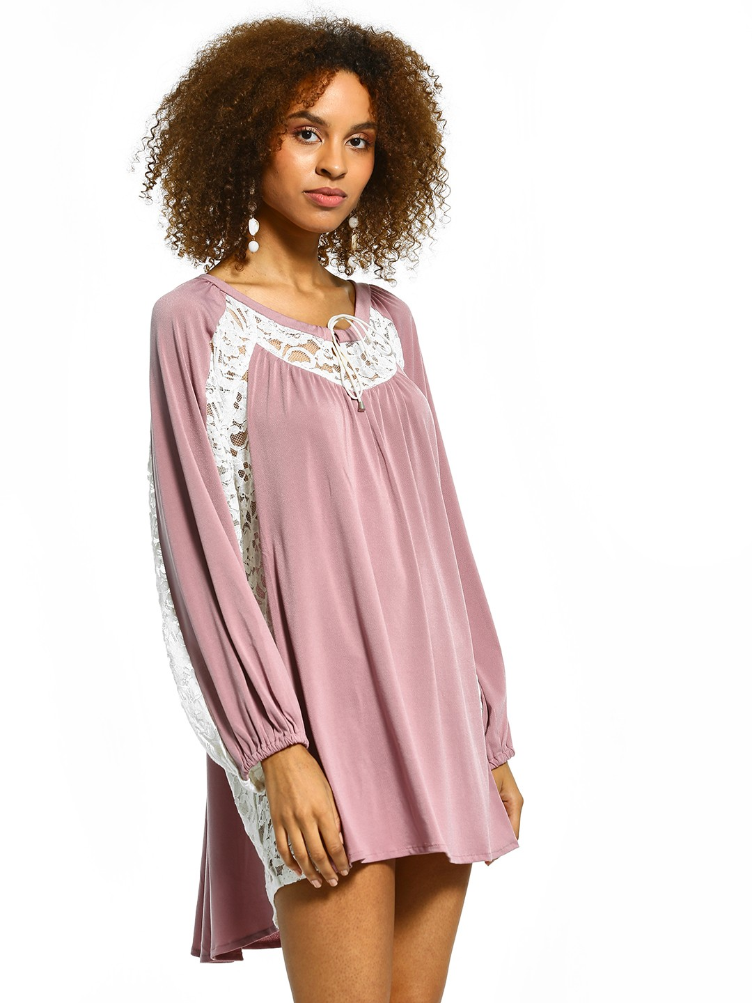 The Paperdoll Company Lilac Lace Insert Shift Dress 1