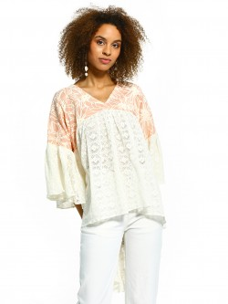 The Paperdoll Company Printed Lace High-Low Blouse