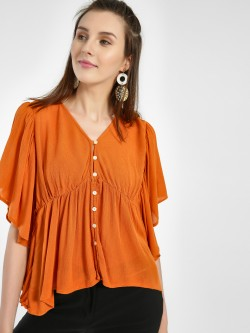 Kisscoast Ruffled Button-Front Blouse