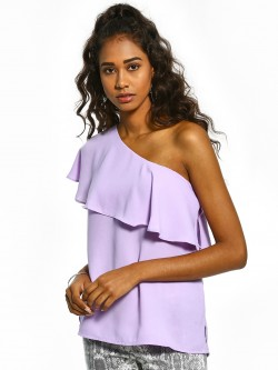 Noble Faith Ruffle One Shoulder Blouse