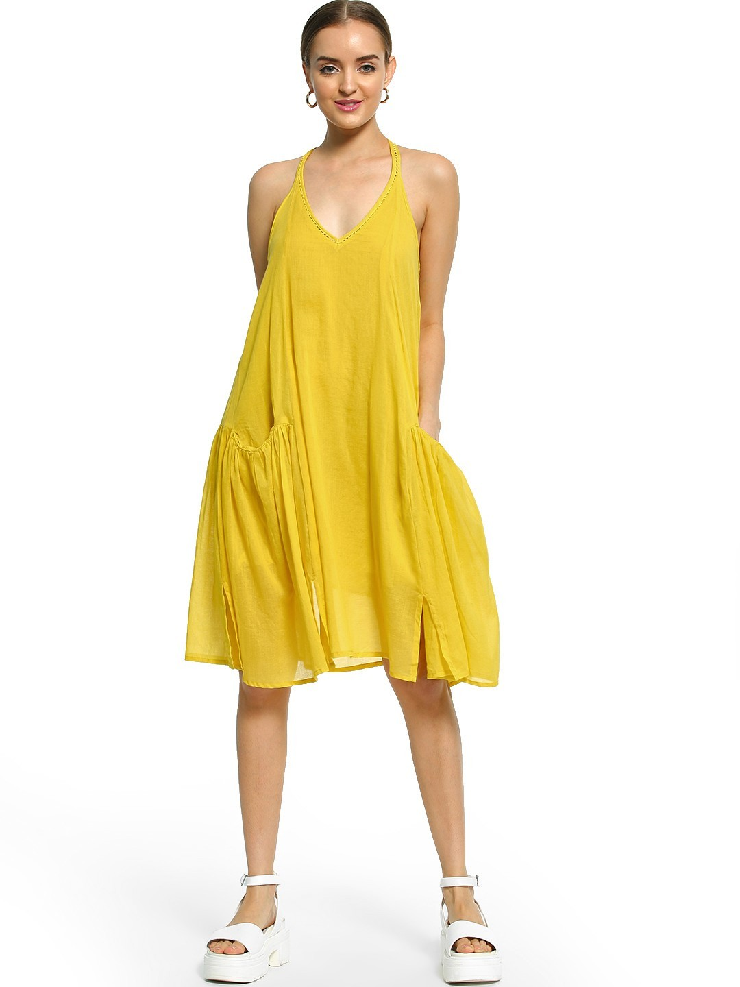 Noble Faith Yellow Lace Trim Racerback Shift Dress 1