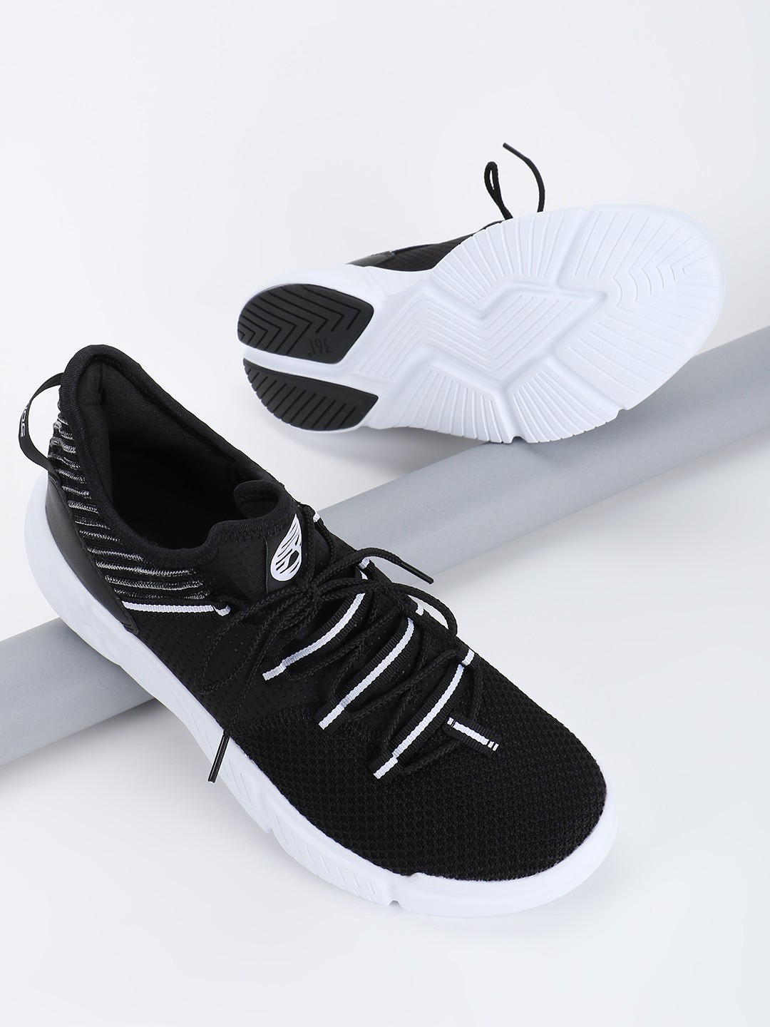 361 Degree Black Knitted Tape Detail Trainers 1