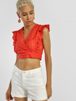 KOOVS Ruffle Detail Broderie Crop Top