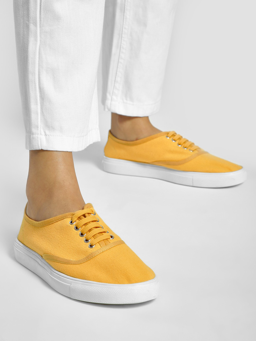 ADORLY Yellow Canvas Lace-Up Sneakers 1