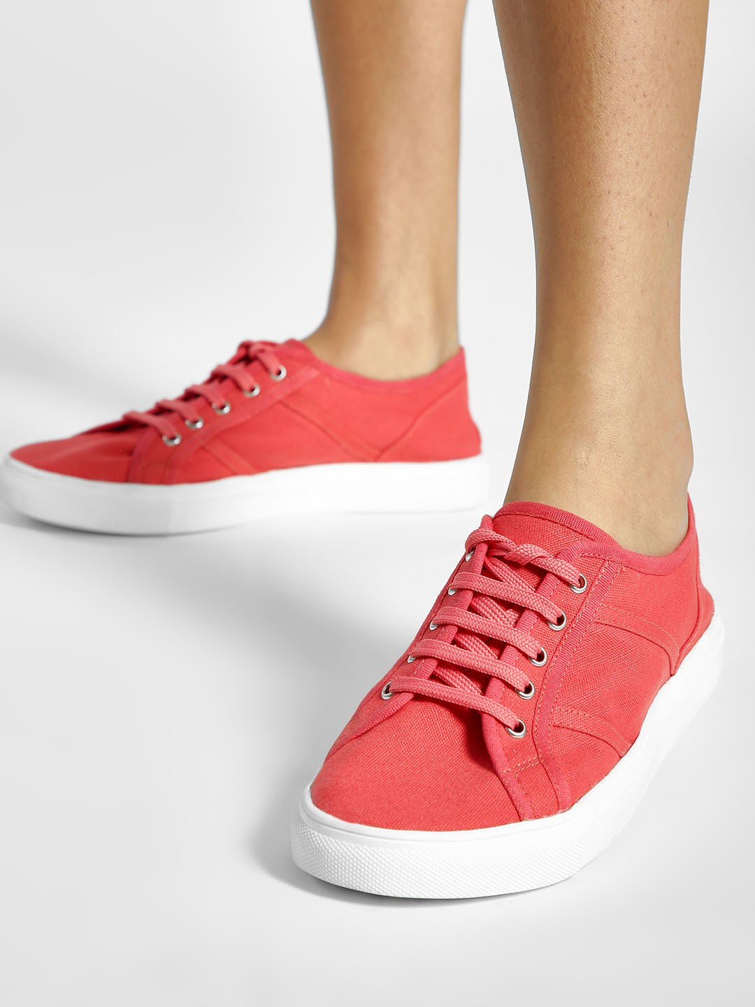 ADORLY Orange Canvas Panelled Sneakers 1