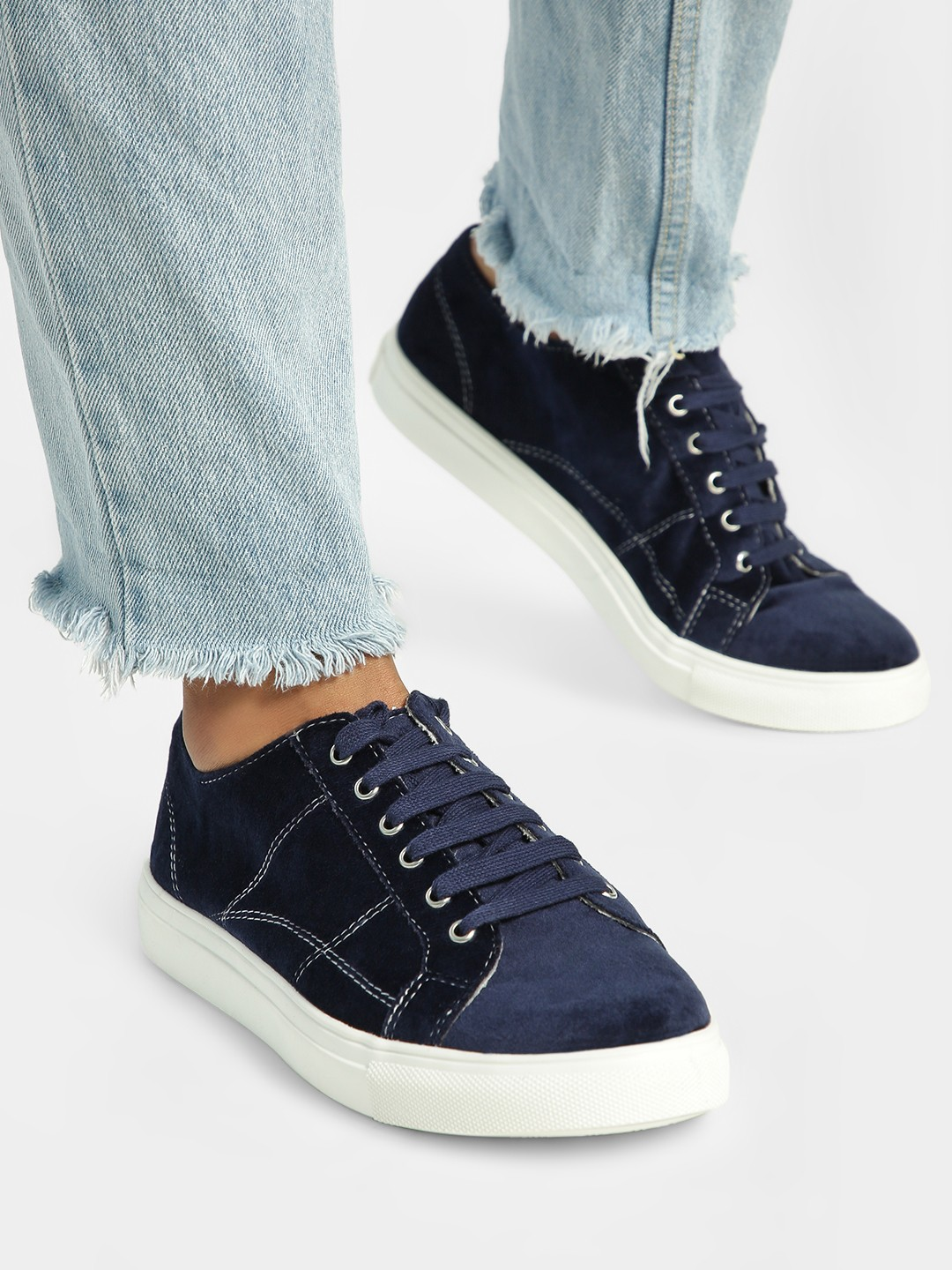 ADORLY Blue Velour Detail Sneakers 1