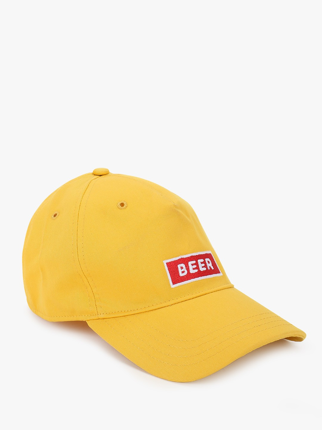 Lazy Panda Yellow Beer Text Embroidered Cap 1