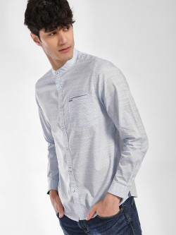Lee Cooper Dot Print Grandad Collar Shirt