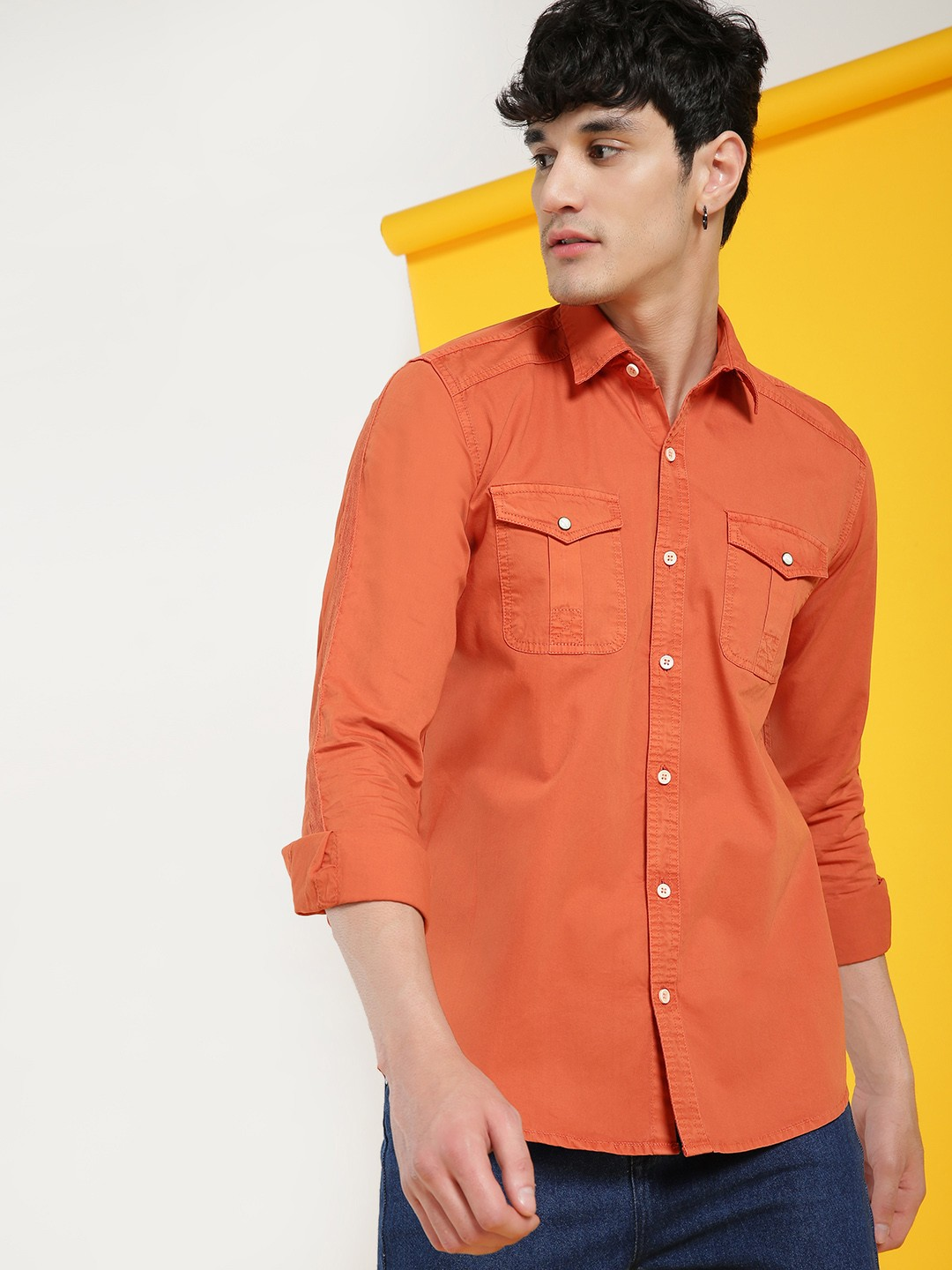 AMON Orange Overdyed Twin Pocket Shirt 1