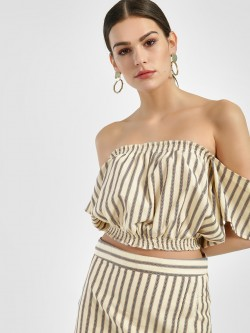 Spring Break Woven Stripe Off-Shoulder Crop Top