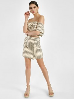 Spring Break Woven Stripe Mini Skirt