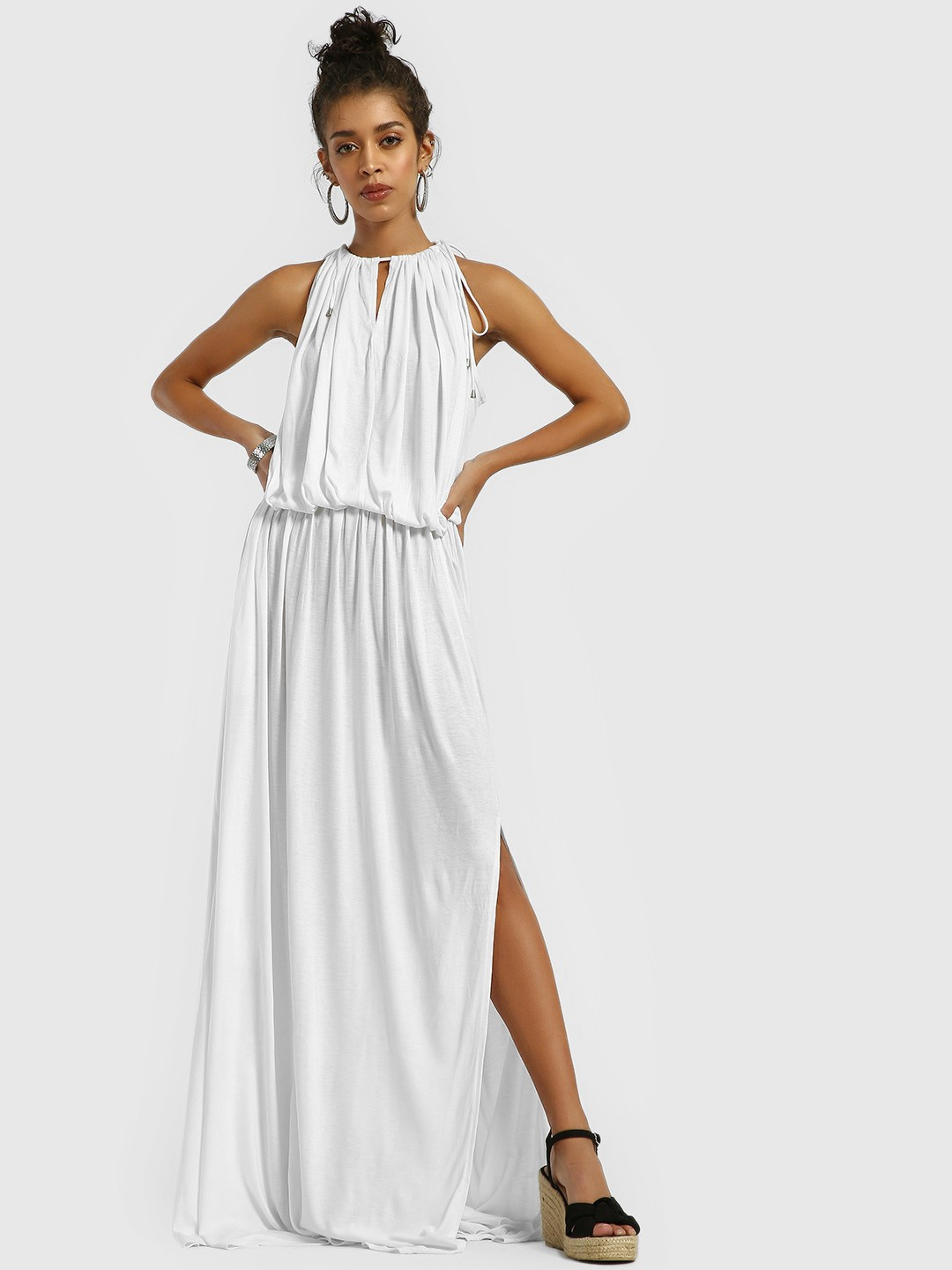 The Paperdoll Company White Halter Neck Maxi Dress 1