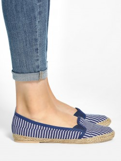 KOOVS Broken Stripe Print Canvas Ballerinas