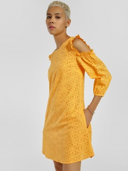 KOOVS Broderie Cold Shoulder Shift Dress