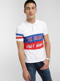 Flying Machine Slogan Colour Block Polo Shirt