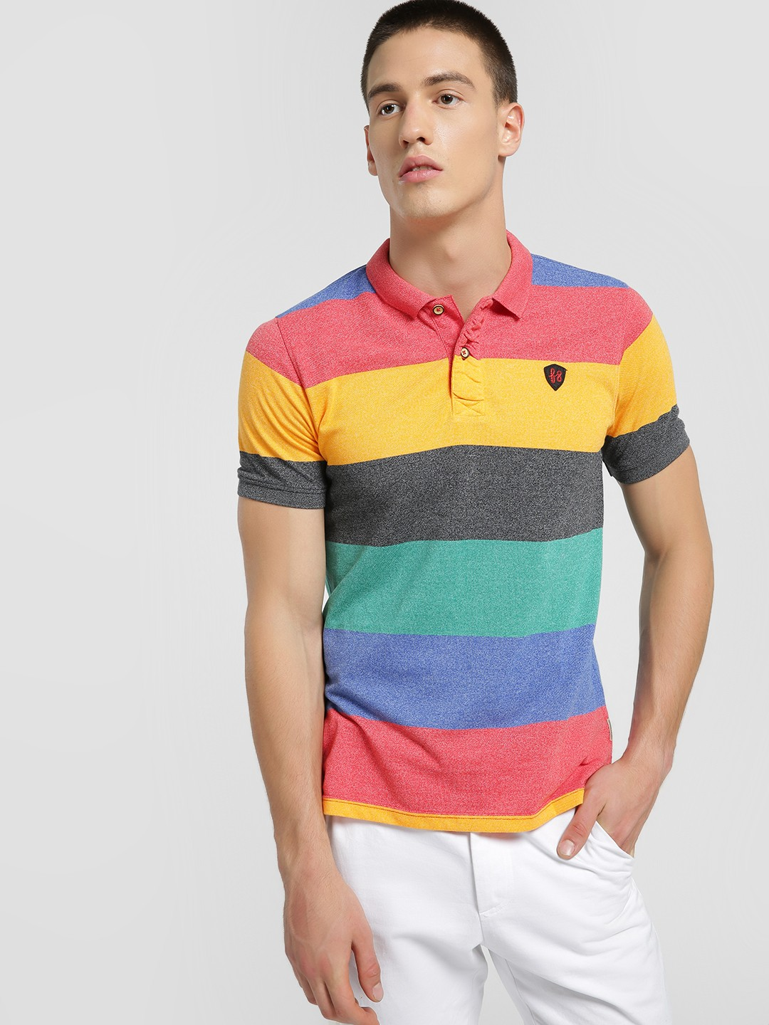 Flying Machine Blue Colour Block Knitted Polo Shirt 1