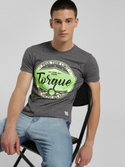 Flying Machine Slogan Crack Rubber Print T-Shirt