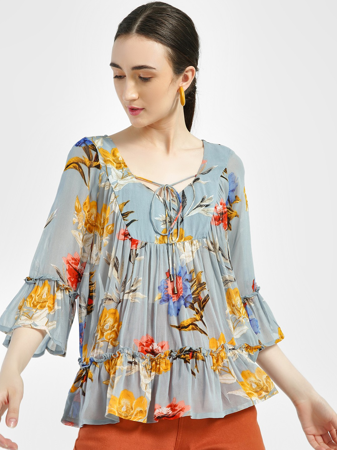 Miaminx Blue Floral Print Tiered Blouse 1
