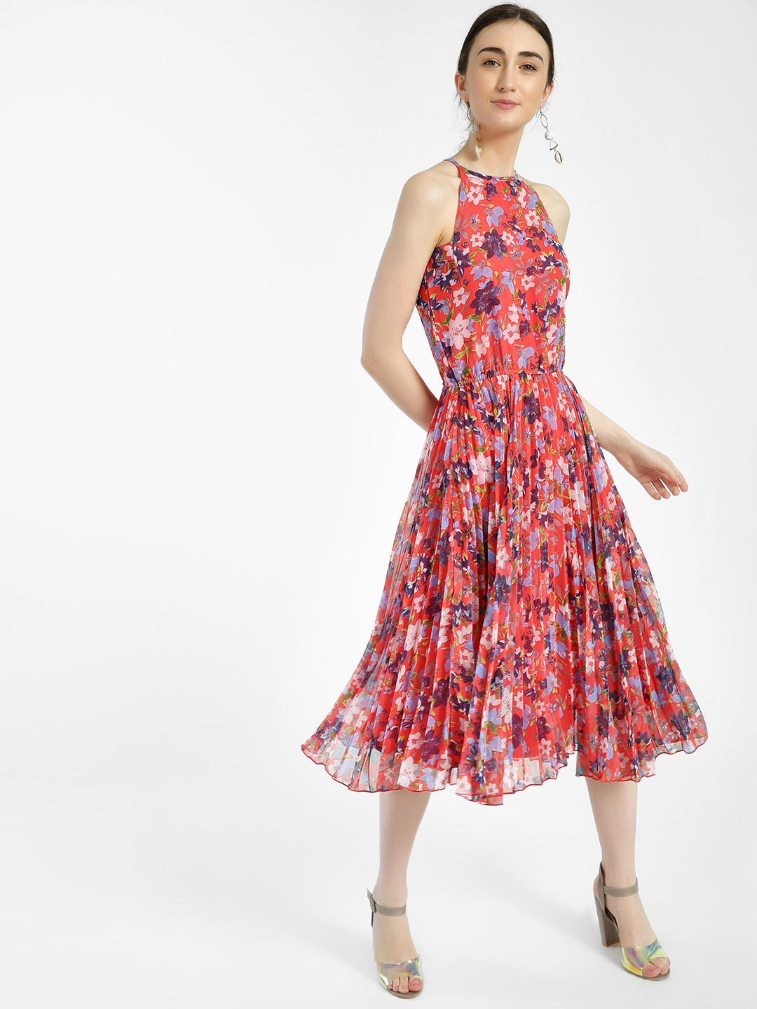 Miaminx Red Floral Print Plisse Midi Dress 1