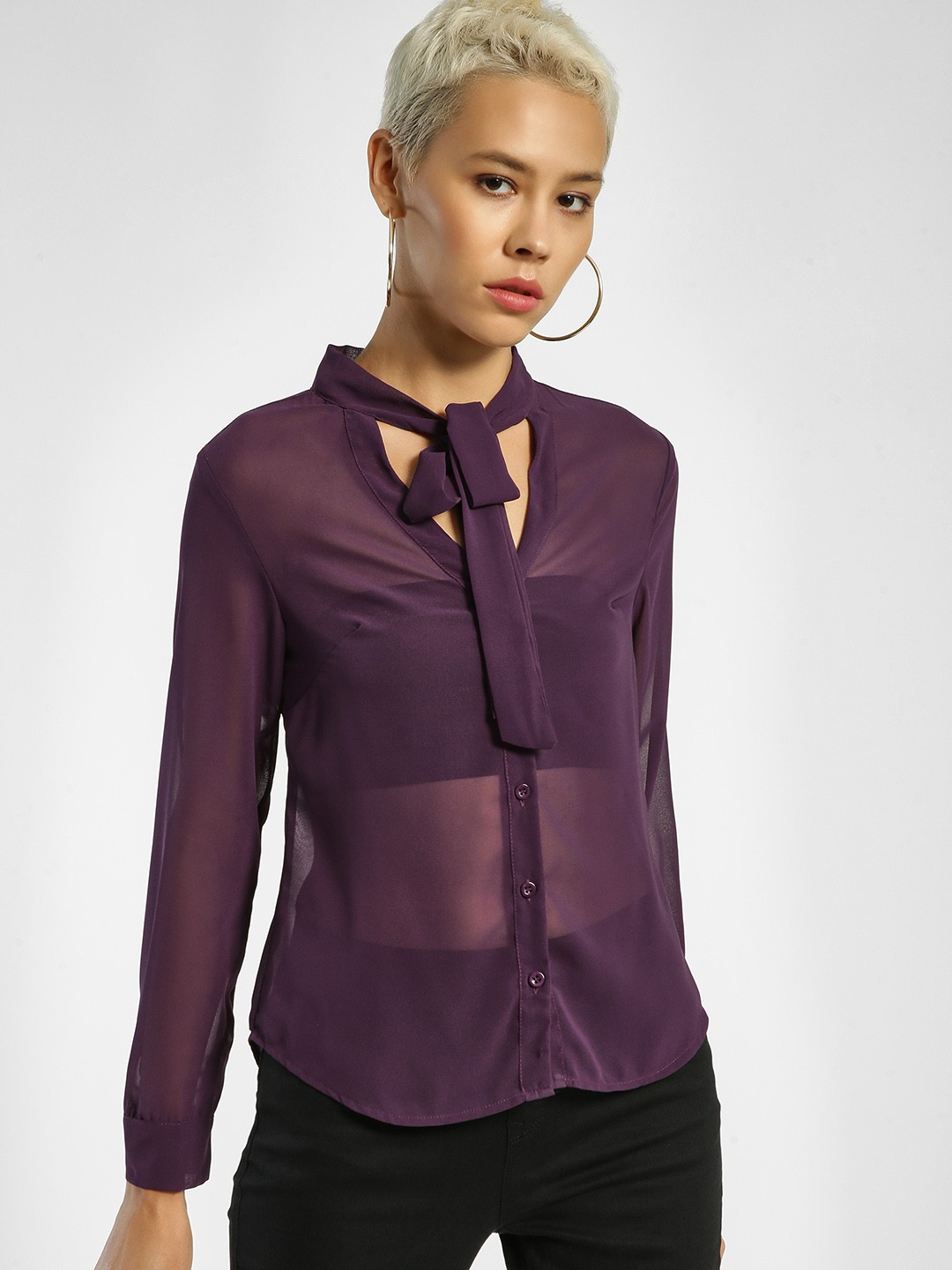 JJ's Fairyland Purple Pussy Bow Button-Up Blouse 1