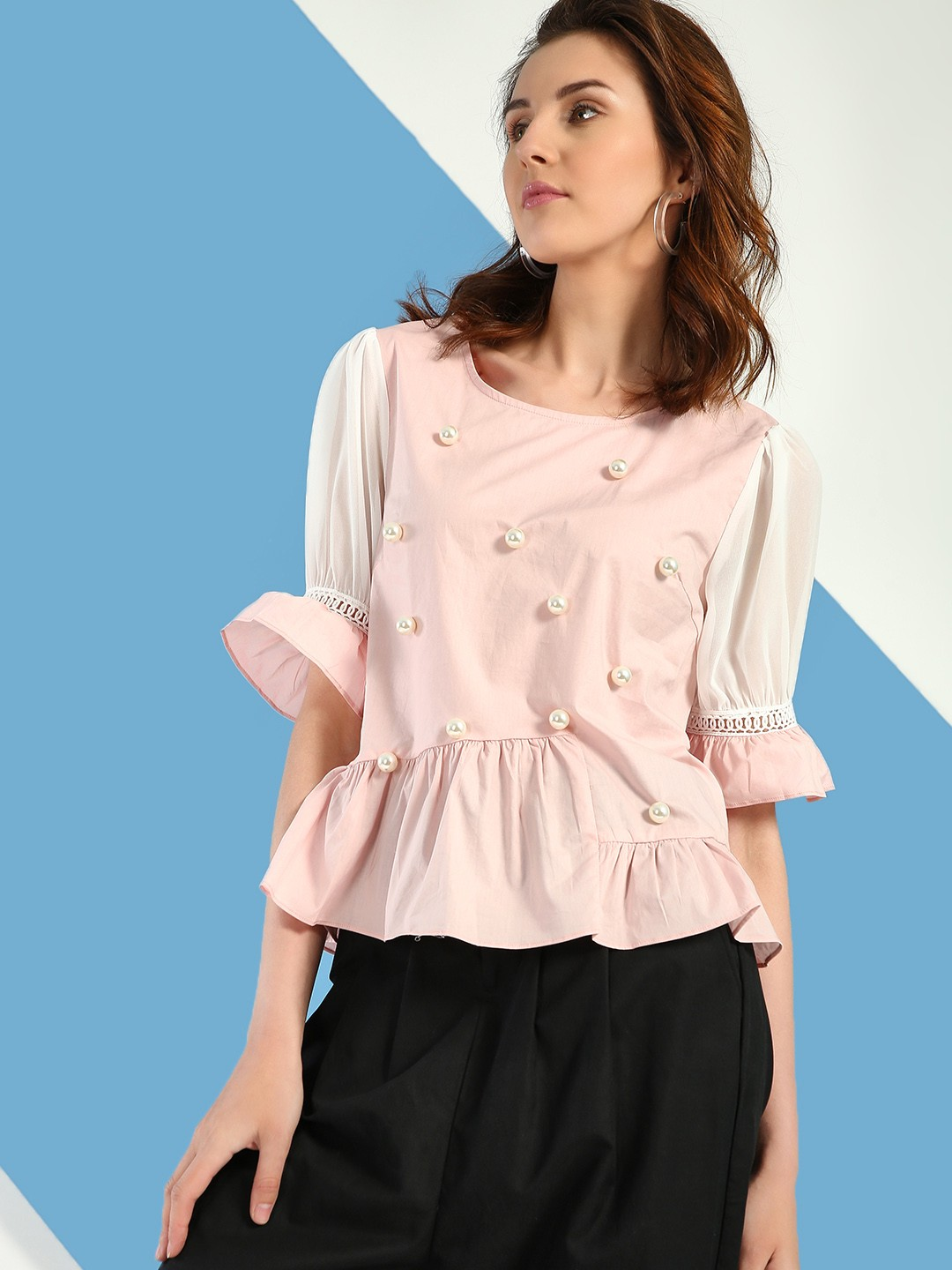 JJ's Fairyland Pink/White Pearl Embellished Peplum Top 1