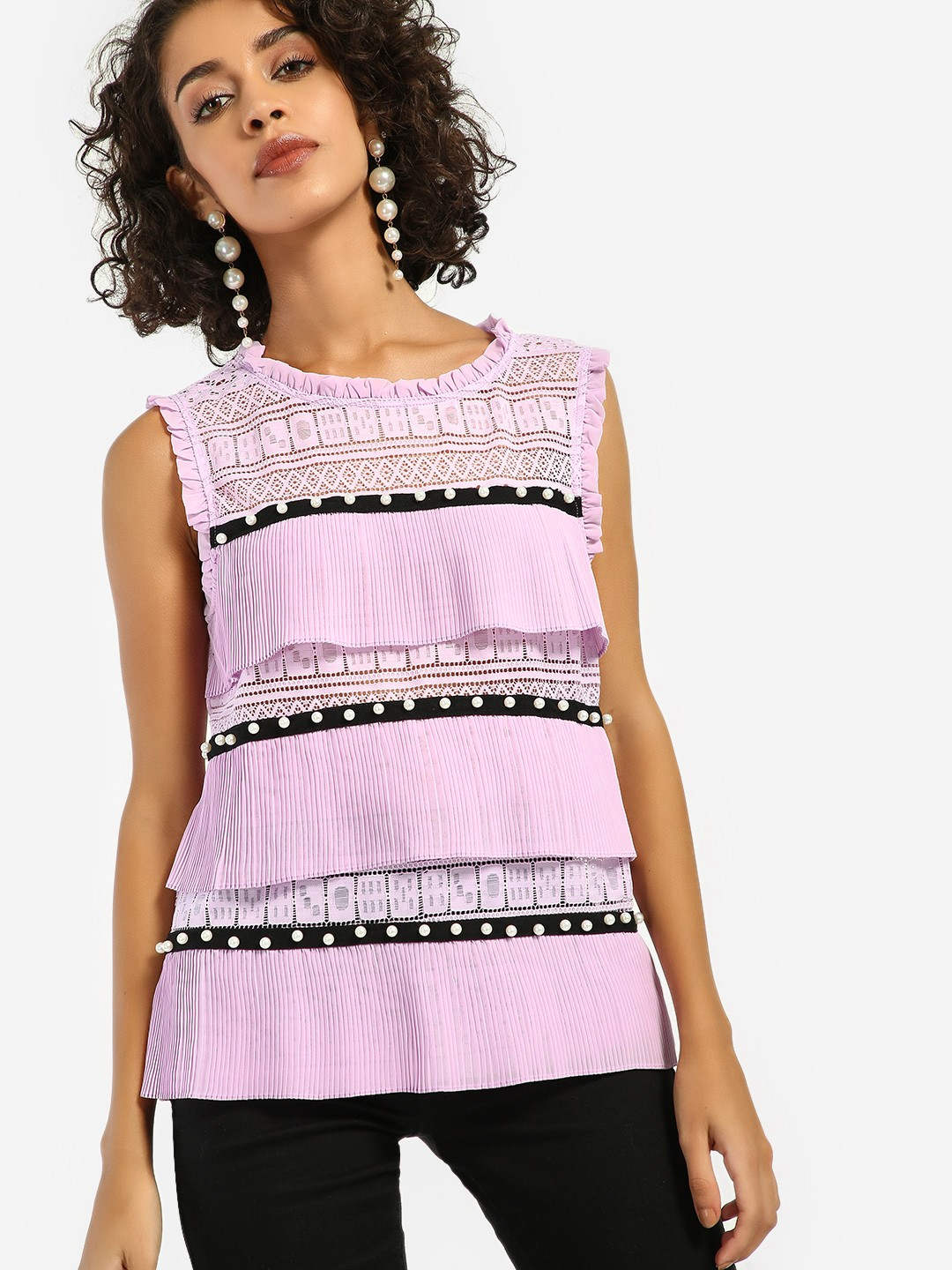 JJ's Fairyland Pink/Black Pearl Embellished Lace Pleated Blouse 1