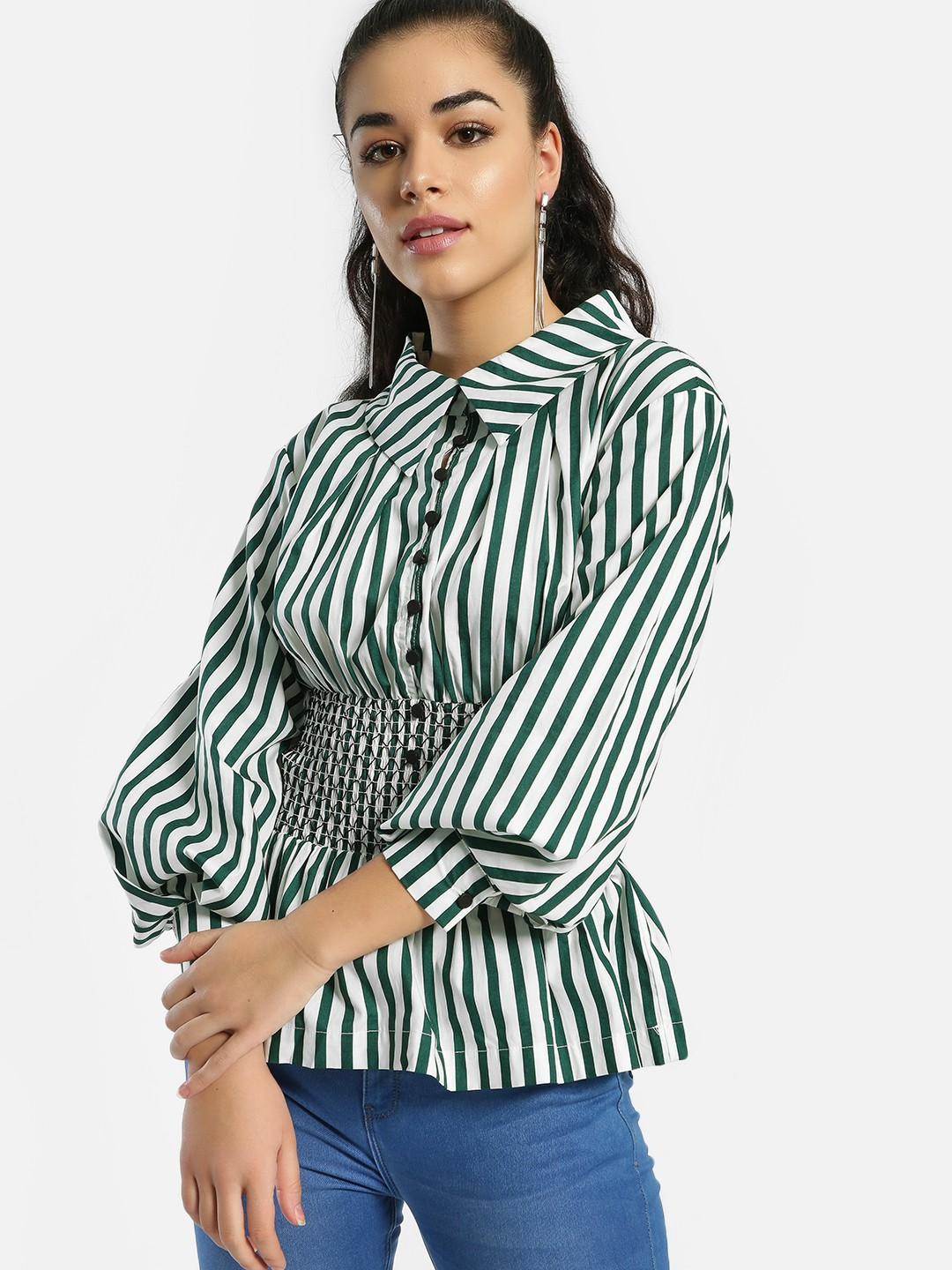 JJ's Fairyland Green Stripe Peplum Hem Blouson Shirt 1
