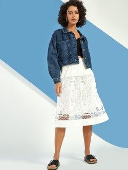 JJ's Fairyland Cutout Crochet Lace Midi Skirt