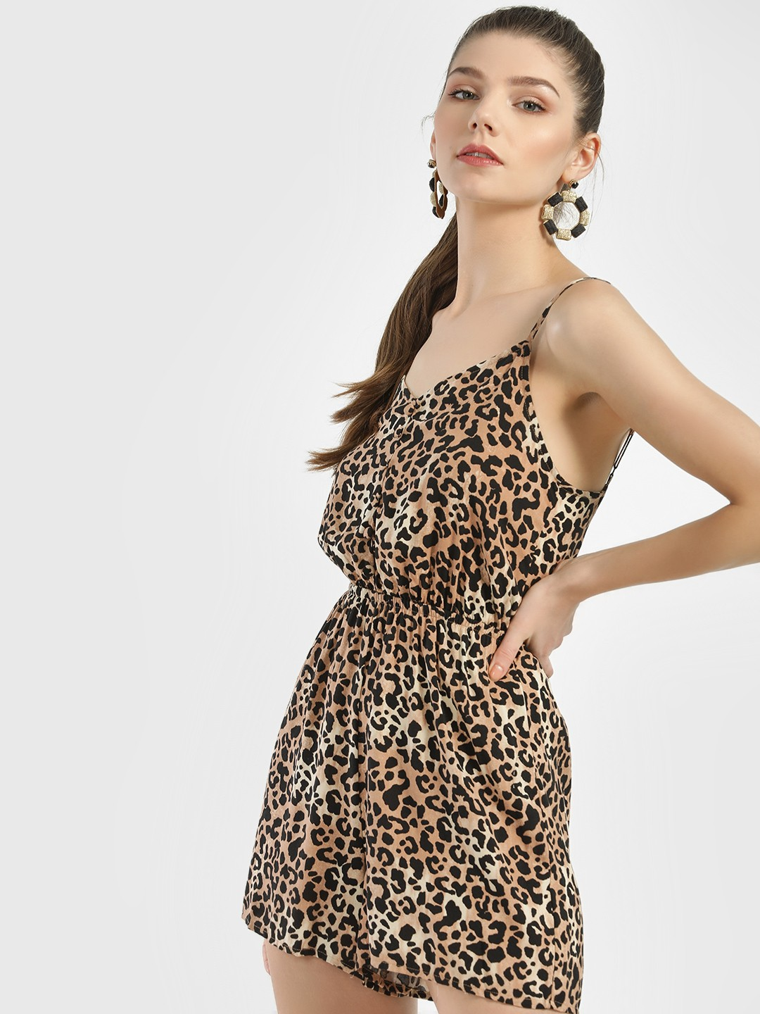 New Look BROWN PATTERN Leopard Print Sleeveless Playsuit 1