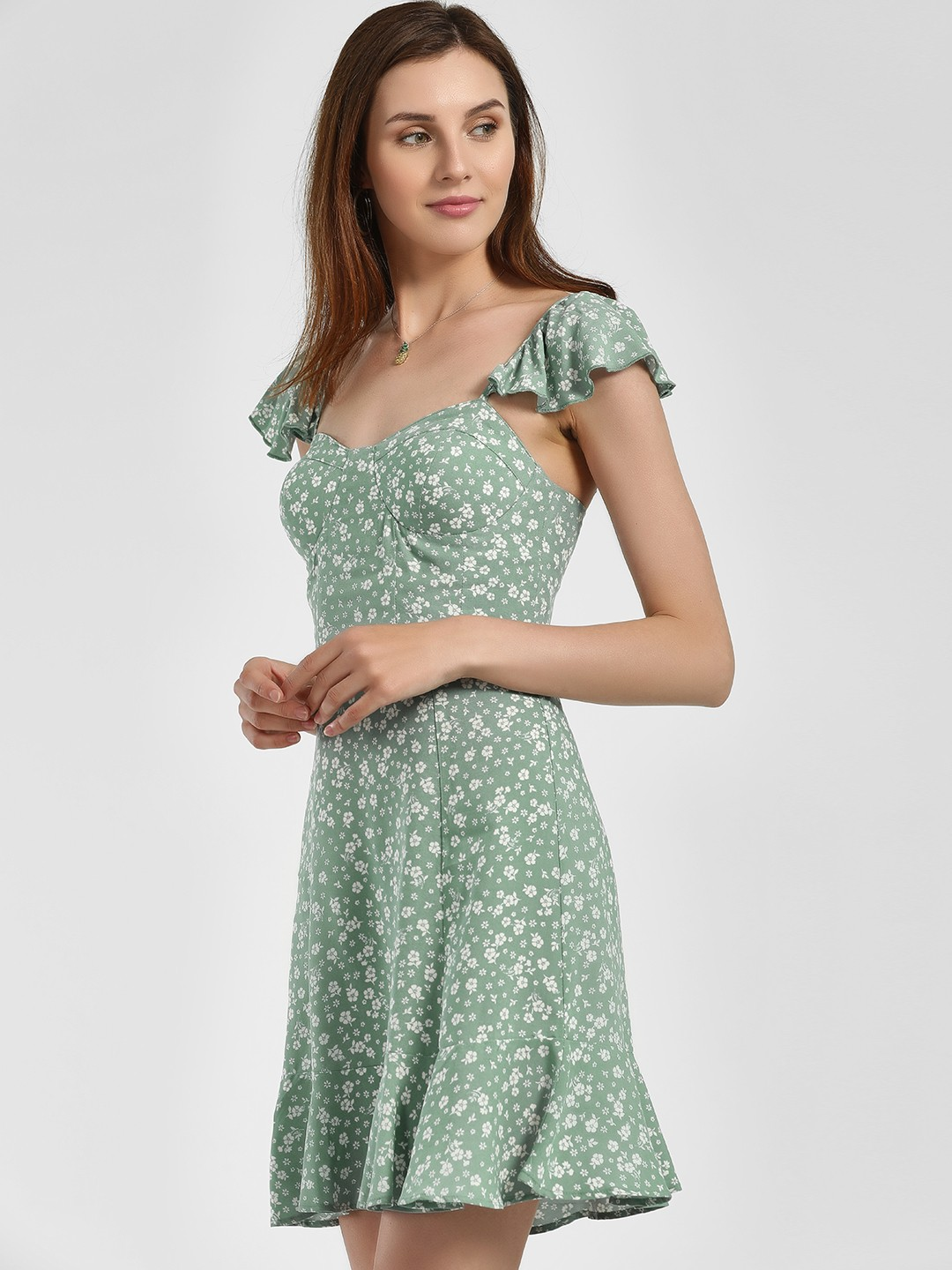 New Look GREEN PATTERN Floral Ditsy Print Shift Dress 1