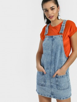New Look Light Wash Denim Pinafore Dress