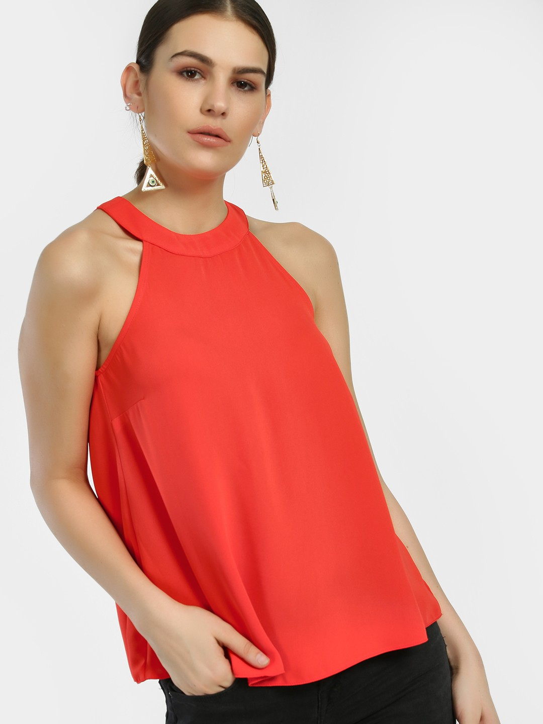 New Look Bright Red Halter Neck Sleeveless Blouse 1
