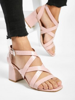 New Look Crocskin Cross-Strap Block Heeled Sandals